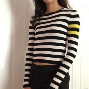Striped shirt with yellow detail